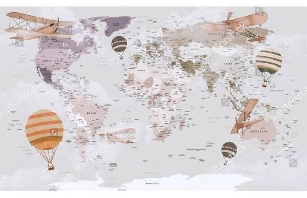 Фотообои Детская карта мира с шарами