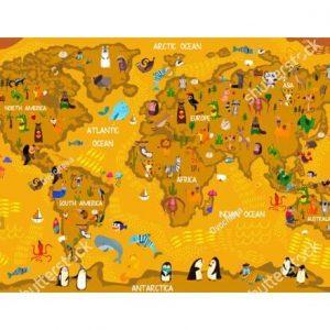 Фотообои Детская карта мира рыжая