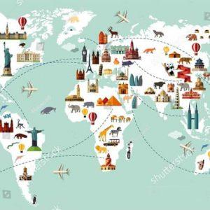 Фотообои Карта мира в детскую снежная