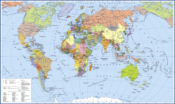 Фотообои Политическая карта мира на русском