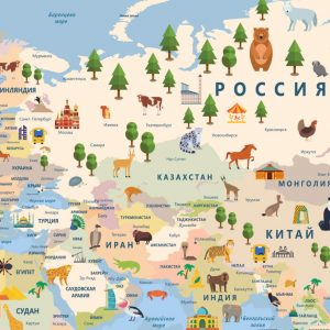 Фотообои Карта мира на русском синяя 5